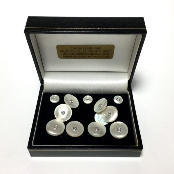 14K Diamond and Mother of Pearl Complete Tuxedo Stud Set