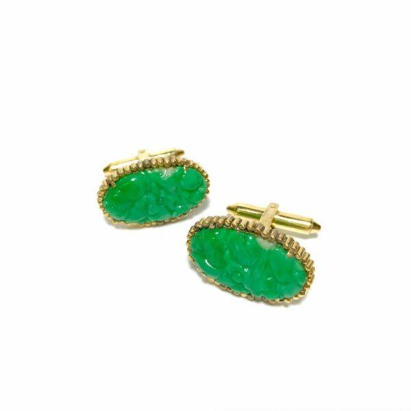 14K Gold Carved Jade Cufflinks