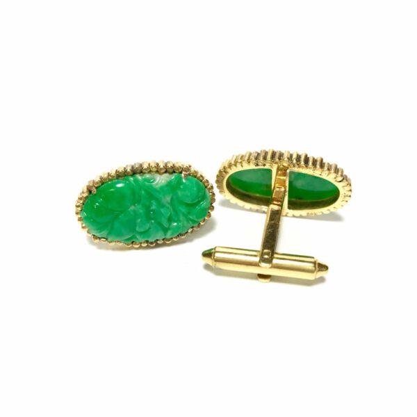 14K Gold Carved Jade Cufflinks 1
