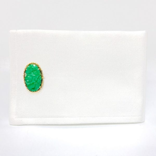 14K Gold Carved Jade Cufflinks 2