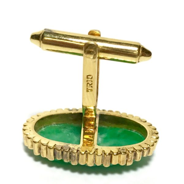 14K Gold Carved Jade Cufflinks 3