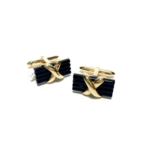 14K Gold Onyx Cufflinks