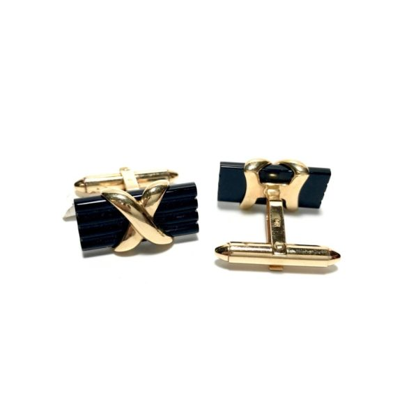 14K Gold Onyx Cufflinks 1