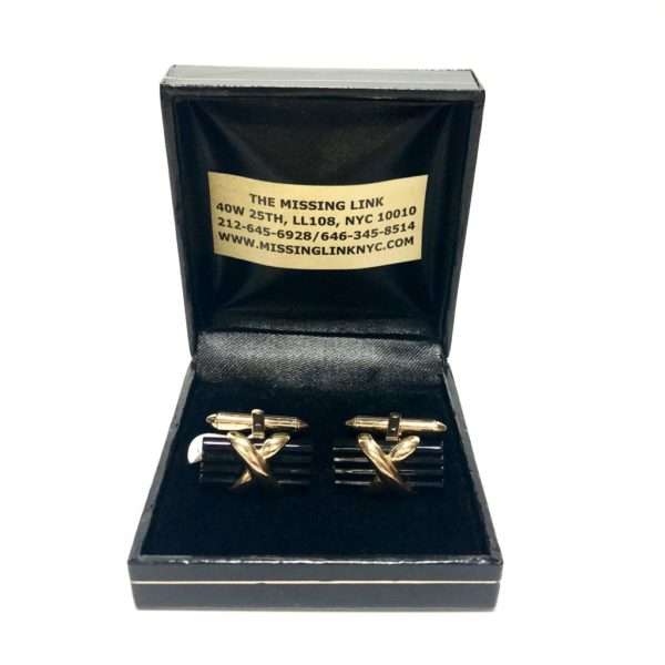 14K Gold Onyx Cufflinks 3