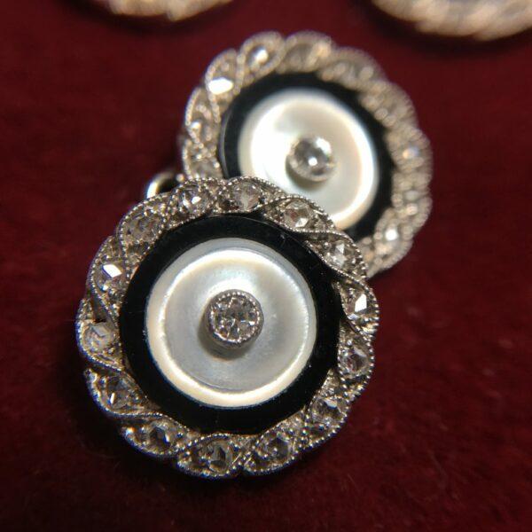 14K Gold Platinum Diamond and Onyx Cufflinks with Shirt Studs2