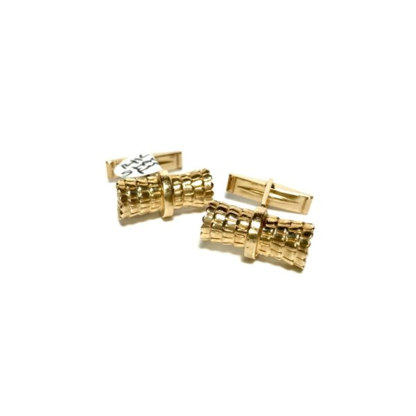 14K Gold Stacked Feather Pattern Cufflinks