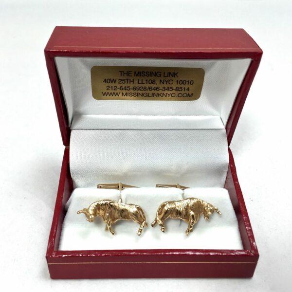 14K Gold Bull Cufflinks