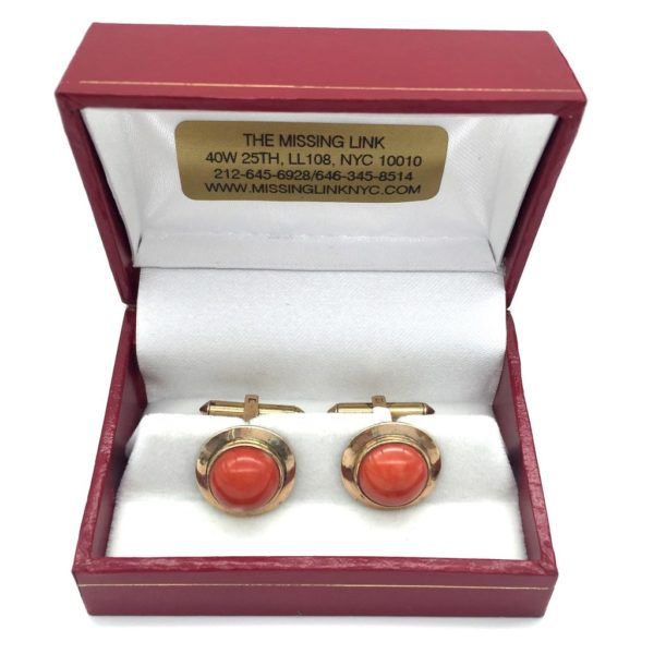 14K Gold and Coral Cufflinks