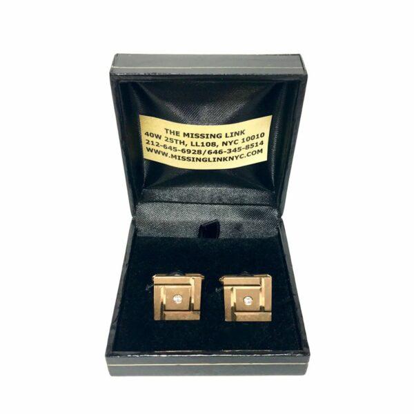 14K Gold and Diamond Cufflinks by Larter