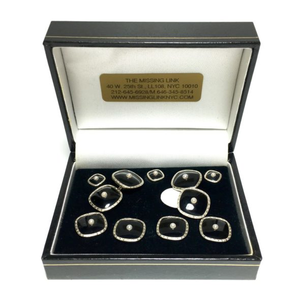 Onyx and Pearl Centers 14K Gold Tuxedo Stud Set