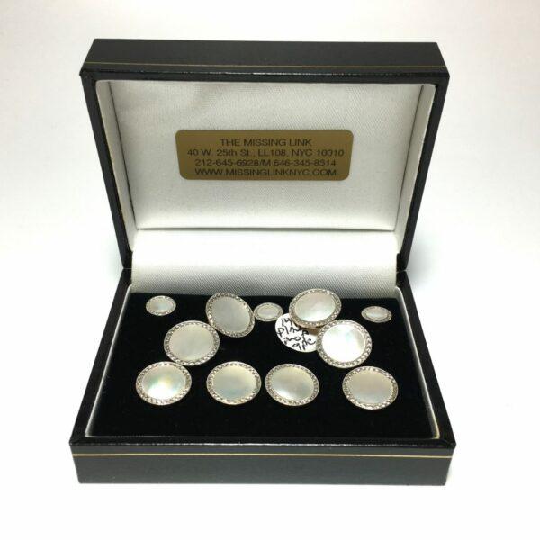 14K Platinum Mother of Pearl Complete Tuxedo Stud Set