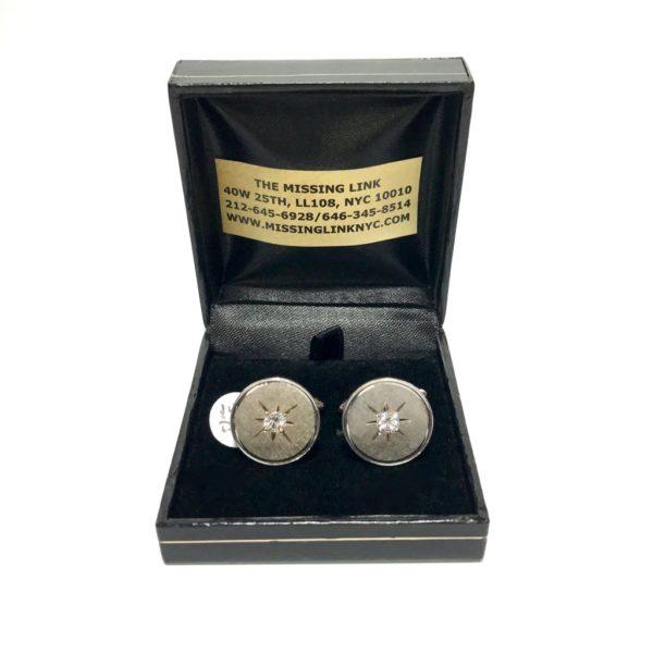14K White Gold and Diamond Cufflinks by Larter