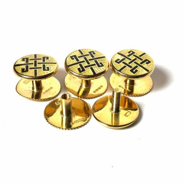 18K Gold English Enamel Stud Set