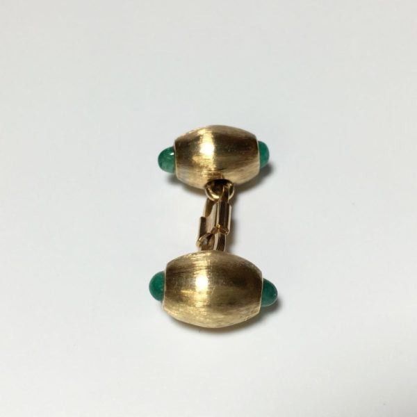 18K Gold and Emerald Double Sided Tuxedo Cufflinks