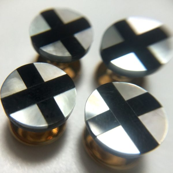 4 Onyx Mother of Pearl Tuxedo Shirt Studs