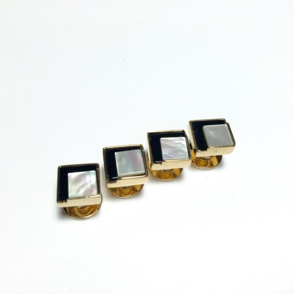 4 Onyx Mother of Pearl Tuxedo Shirt Studs 1