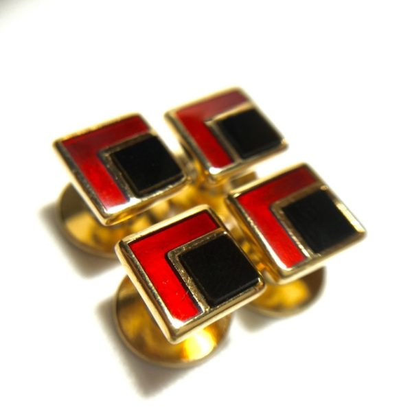 4 Gold Filled Onyx and Red Enamel Tuxedo Shirt Studs