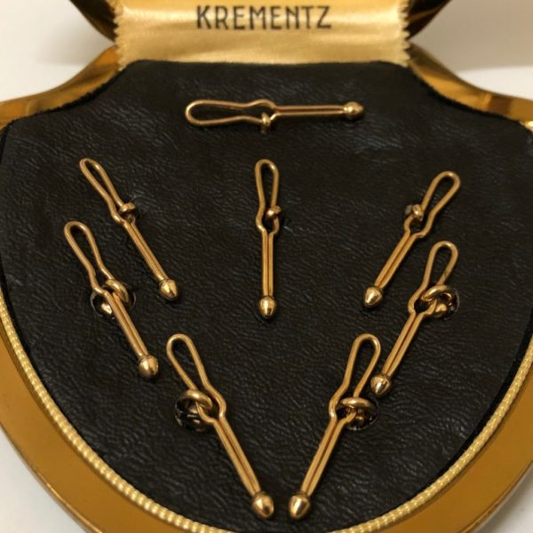 Art Deco Krementz Gold and Mother of Pearl with Platinum Inlay Rims Complete Tuxedo Stud Set with Matching Cufflinks 4C