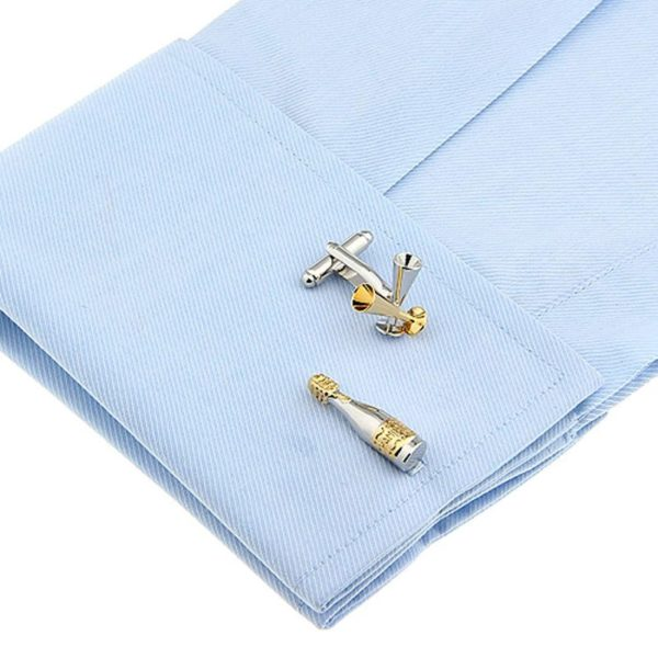 Champagne Bottle and Glass Cufflinks
