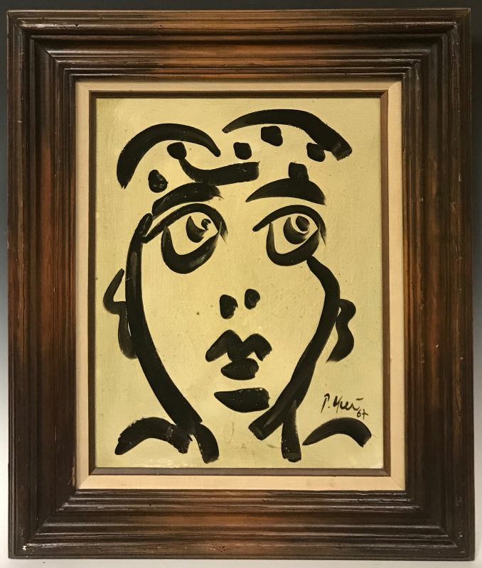 Expressionism Abstract Face Pablo Picasso Oil Painting Peter Keil Paris 1967