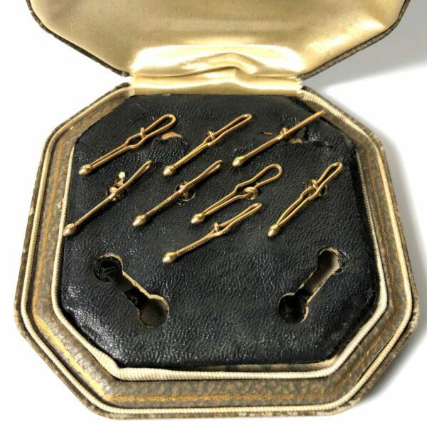 Krementz Gold and Abalone Stud Set