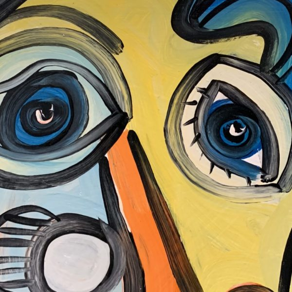 """Peter Keil """"Abstract Face"""" Oil Painting"""