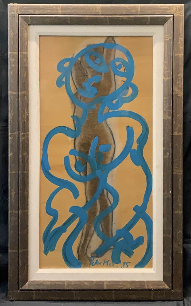 """Peter Keil """"The Blue Lady"""" Oil Painting"""