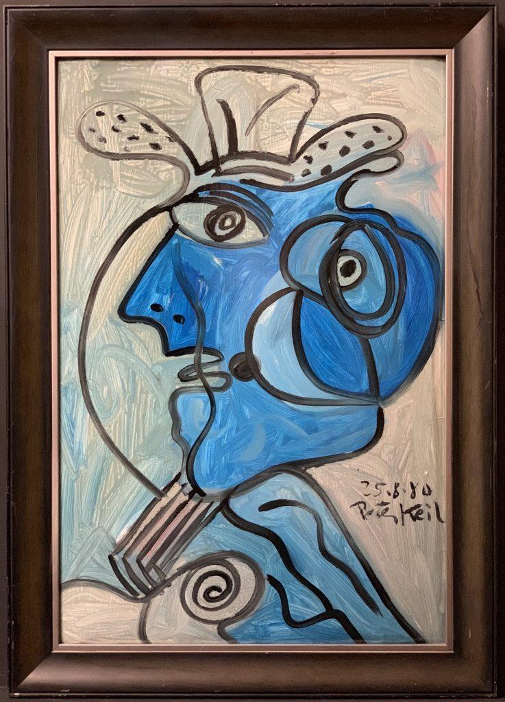 "Peter Keil ""Blue Matador"" Oil Painting"