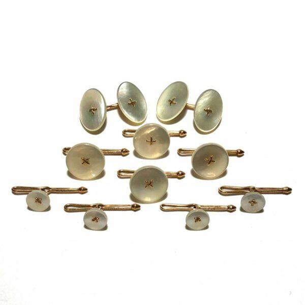 Antique Art Deco Krementz 14k Gold and Mother Of Pearl Complete Tuxedo Stud Set