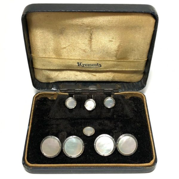 Antique Art Deco Krementz Gold Filled Mother Of Pearl with Platinum Inlay Rims Tuxedo Stud Set with Matching Cufflinks