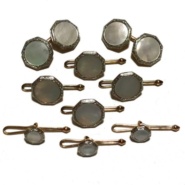 Antique Art Deco Krementz 14k Gold with Mother Of Pearl and Platinum Inlay Rims Complete Tuxedo Stud Set