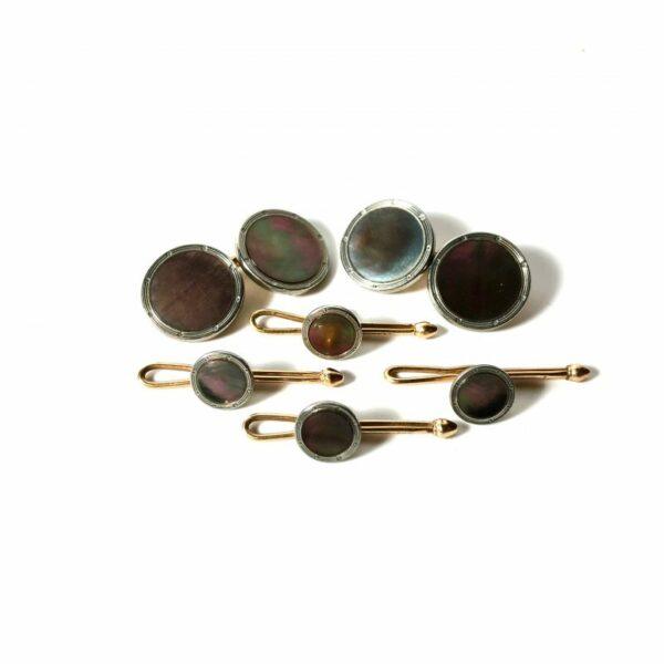 Krementz Gold and Platinum Abalone Stud Set