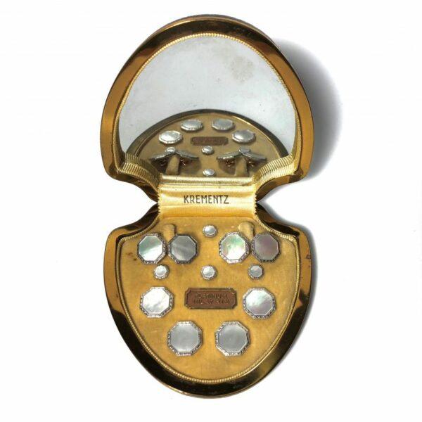Krementz Gold and Platinum Mother Of Pearl Stud Set
