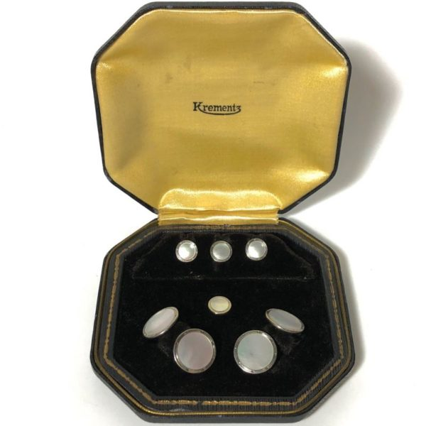 Antique Krementz Art Deco Gold Filled Mother Of Pearl with Platinum Inlay RIms Tuxedo Stud Set with Matching Cufflinks