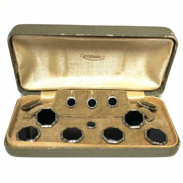 Antique Art Deco Krementz Gold Filled Black Enamel and Platinum Inlay Rims Complete Tuxedo Stud Set