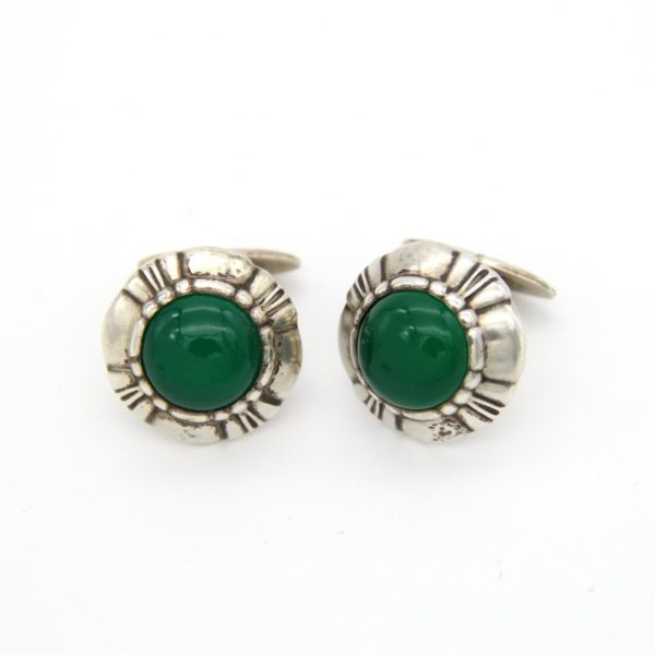 Jensen Sterling Cufflinks with Chrysoprase No2 by Harald Nielsen