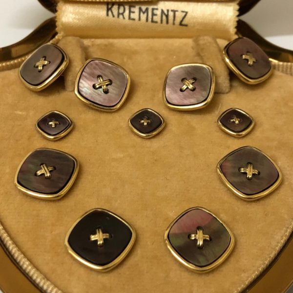Krementz Art Deco Gold and Abalone Button Complete Tuxedo Stud Set with Matching Cufflinks 3C