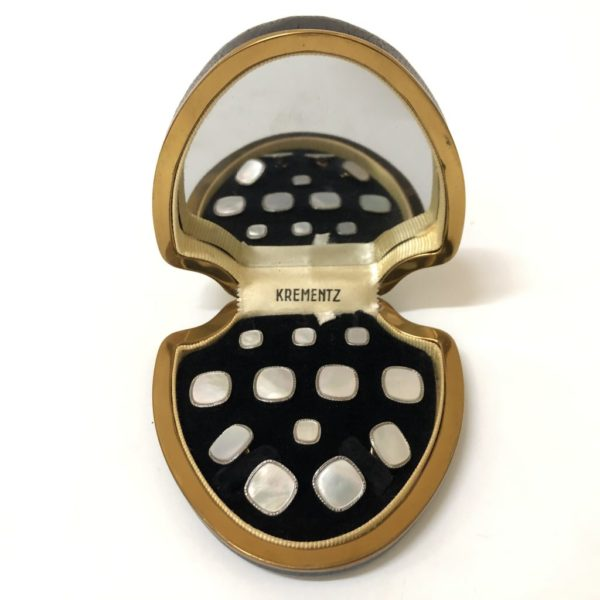 Krementz Art Deco Gold and Mother Of Pearl with Platinum Inlay Rims Complete Tuxedo Stud Set with Matching Cufflinks 1C