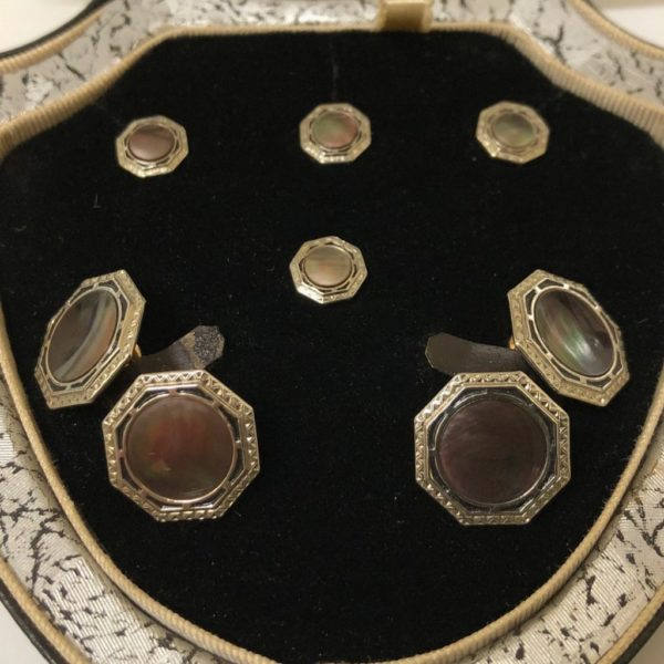 Krementz Gold and Abalone Stud Set 1A