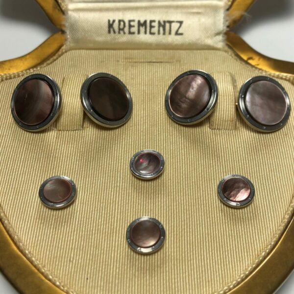 Krementz Gold and Abalone Stud Set 3B