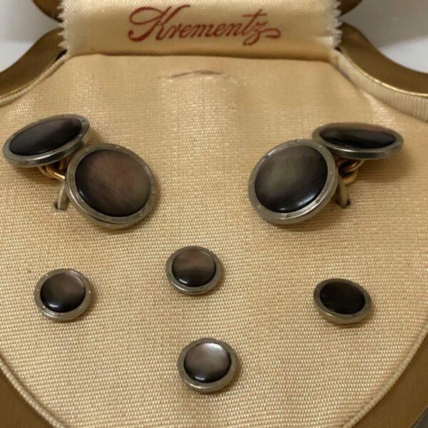 Krementz Gold and Abalone Stud Set 2C