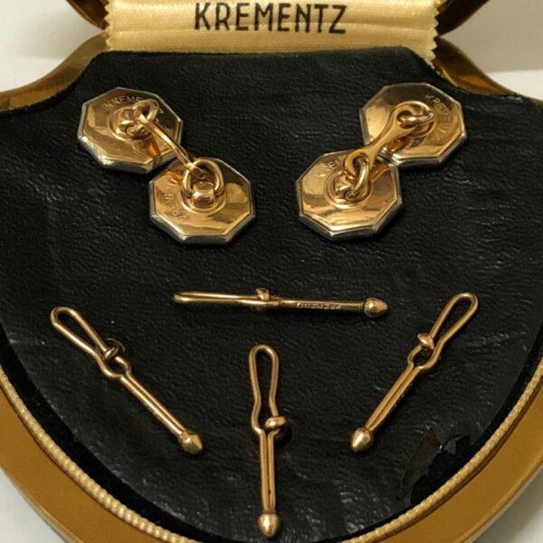 Krementz Gold and Abalone Stud Set 6B