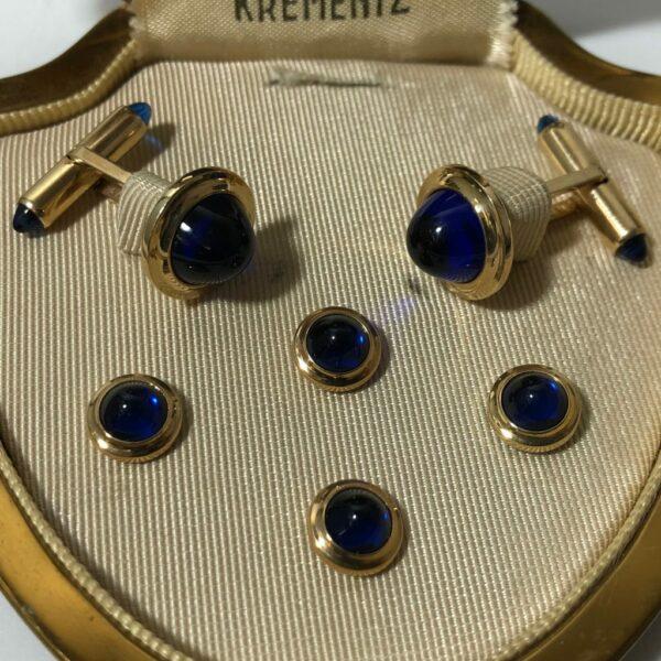Krementz Gold and Blue Glass Stud Set