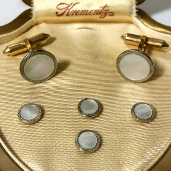 Krementz Gold and Mother Of Pearl Stud Set