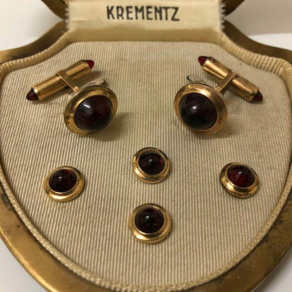 Krementz Gold and Red Glass Stud Set 7A