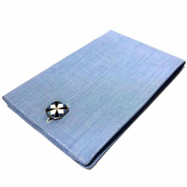 Kum-A-Part Blue White Black Enamel Cufflinks 1920s