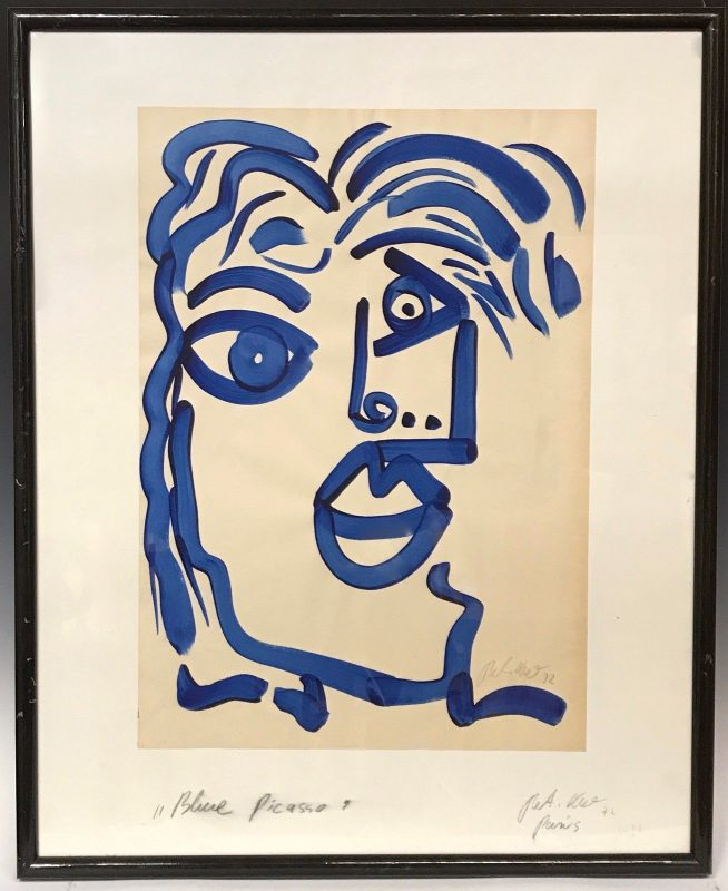 """Peter Keil """"Blue Picasso"""" Acrylic Painting"""