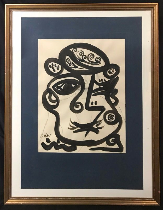 """Neo Expressionism Abstract Face """"ME"""" Acrylic Painting by Peter Keil Paris 1960's"""