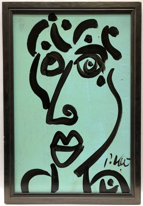 Neo Expressionism Abstract Face Oil Painting Signed Peter Keil Mint/Black Framed