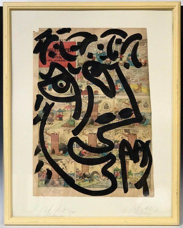 "Peter Keil ""Me"" Acrylic Newsprint Painting"